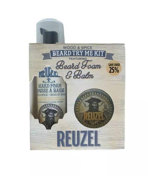 Reuzel-Try Me Kit Beard Foam & Balm Wood&Spice Zestaw Kosmetyków do Brody